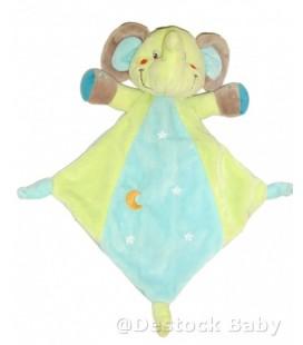 Doudou plat Elephant bleu vert Nicotoy Lune Etoiles 32 cm 579/8923