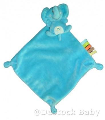 Doudou elephant bleu Nicotoy Mouchoir Nombril Croix