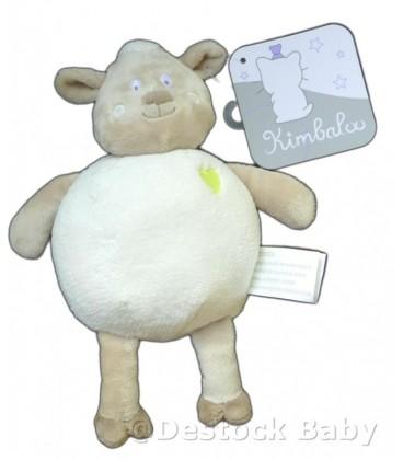 Doudou MOUTON agneau KIMBaLOO La Halle Sheep gris blanc coeur brodé H 25 cm