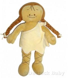 Doudou Poupée indienne NOUKIE'S Noukies beige jaune marron 30 cm