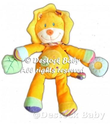 Doudou LION jaune orange POMMETTE H 30 cm Grelot Feuille verte