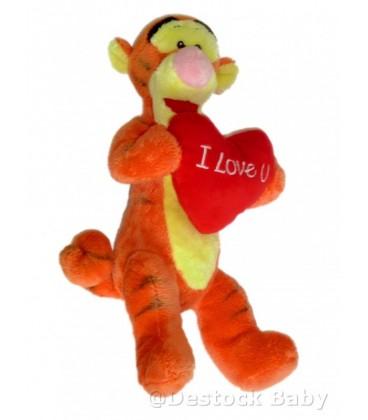 Doudou peluche TIGROU Coeur rouge Disney Nicotoy I love U You 35 cm