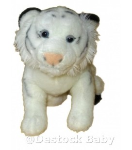 Doudou peluche TIGRE blanc Playkids Collection CMI Fauve allongé L 40 cm
