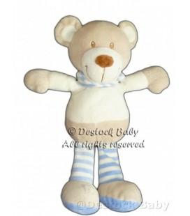 Doudou Ours POMMETTE beige crème Foulard rayures bleues 26 cm