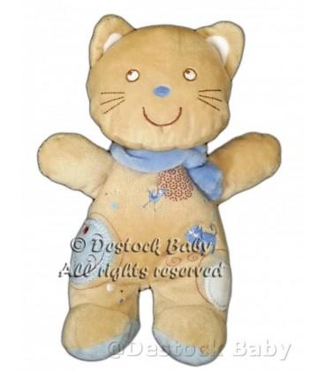 Doudou Chat Pommette beige Echarpe bleue 21 cm