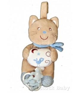 Doudou Chat Musical POMMETTE beige Echarpe bleue H 21 cm A suspendre