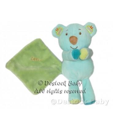 Doudou Ours Koala Panda Zen SYSTEME U Bleu turquoise vert Mouchoir