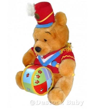 Doudou peluche WINNIE L'OURSON Tambour Authentique Disney Store The pooh Drum