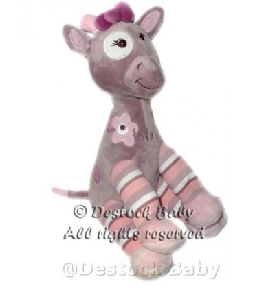 Bébisol - Doudou peluche girafe rose mauve Arthur et Lola
