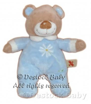 Doudou peluche OURS bleu beige marron NICOTOY Fleur brodée H 28 cm