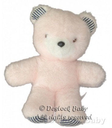 Doudou Peluche OURS rose THIENNOT 26 cm avec grelot VINTAGE Made In France
