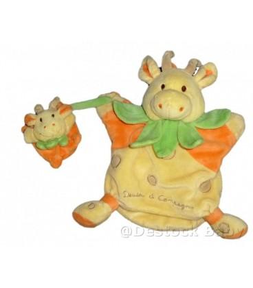 DOUDOU ET COMPaGNIE Marionnette GIRaFE jaune orange vert et bébé