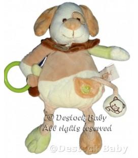 Doudou peluche CHIEN beige marron Babynat Grelot Hochet Chat 30 cm