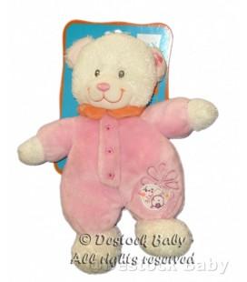 Doudou OURS blanc Combinaison rose TEX Baby Oiseau Fleur BEaR Plush Baby Comforter