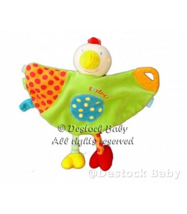 Doudou plat OISEaU vert orange BaBYSUN Baby Sun Explorer anneau dentition