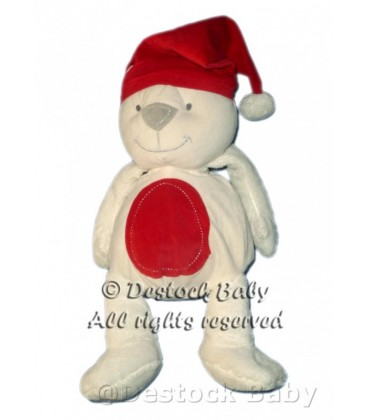 Doudou peluche OURS blanc ORCHESTRA Bonnet rouge Noël 40 cm