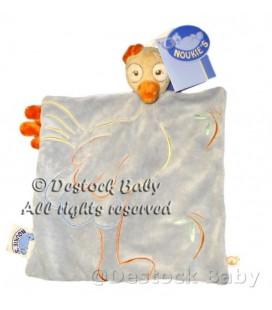 Doudou plat aUTRUCHE Oiseau SISSI Noukie's Noukies Bleu orange