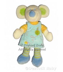 Doudou Souris bleue jaune Mots d'Enfants Maison oiseau 24 cm