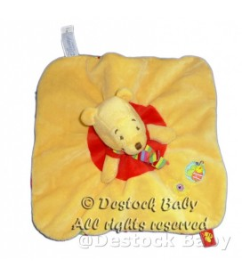 Doudou plat Winnie orange Echarpe dessous rayures Disney Baby Abeille brodée