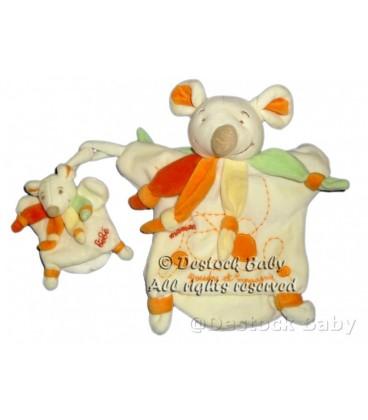 DOUDOU ET COMPaGNIE Marionnette SOURIS orange Maman et bébé