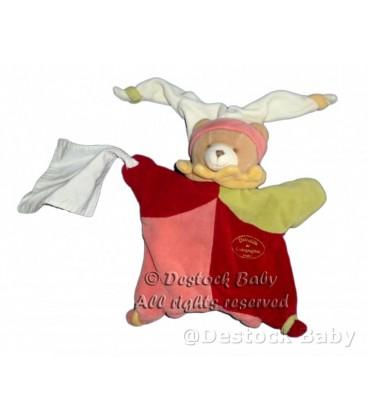 DOUDOU ET COMPAGNIE Marionnette OURS Myrtille rose Mouchoir Blanc