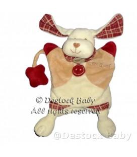 BaBY NaT Babynat Marionnette CHIEN blanc beige bordeaux Mr Ouaf