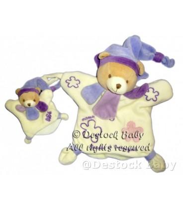 DOUDOU ET COMPaGNIE Marionnette OURS Blanc mauve Violet bleu Maman bébé