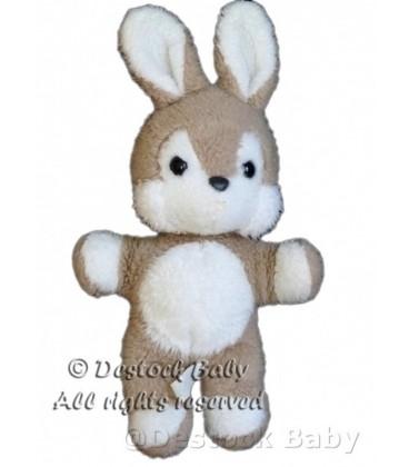 VINTAGE Doudou peluche LAPIN beige blanc 32 cm NOUNOURS marron clair