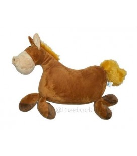 Peluche grand doudou Cheval marron beige roux CASINO 65 cm