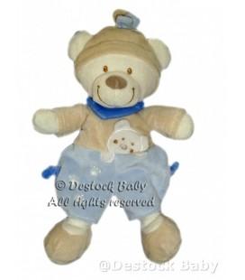 NICOTOY Doudou OURS beige bleu Empreintes Bonnet foulard H 30 cm