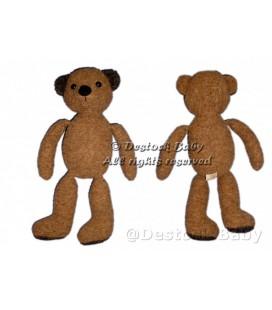 Peluche doudou OURS marron brun JEMINI avec habits H 40 cm VINTAGE