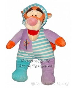 Doudou peluche Tigrou 60 cm Pyjama bleu mauve rayures Disney Nicotoy