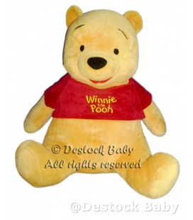 DOUDOU PELUCHE WINNIE L'OURSON THE POOH DISNEY NICOTOY H 50 CM PULL ROUGE