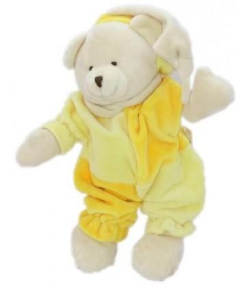 Doudou OURS jaune orange bonnet beige crème CMP - 26 cm
