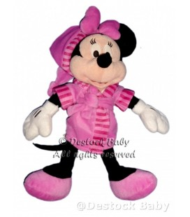 Doudou peluche MINNIE Peignoir Robe de chambre Rose Disney H 40 cm