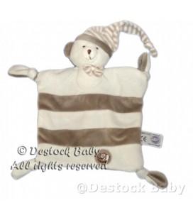 Doudou plat OURS blanc gris beige MGM Dodo d'amour Bonnet 4 noeuds