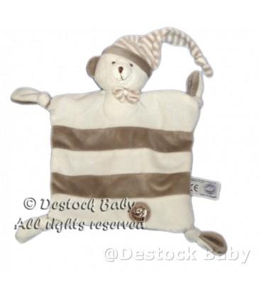 Doudou plat OURS blanc gris beige MGM Dodo d amour Bonnet 4 noeuds