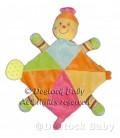 Doudou plat Tortue Jaune orange rose MOTS D'ENFANTS