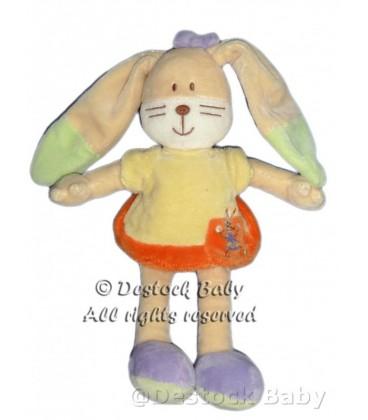 Doudou LaPIN jaune oragne MOTS D'ENFaNTS Robe Hello H 26 cm