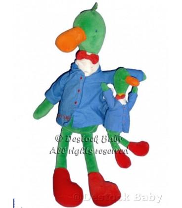 LOT Doudou peluche CaNaRD Vert Bleu MOULIN ROTY Professeur Colvert 40 cm / 20 cm