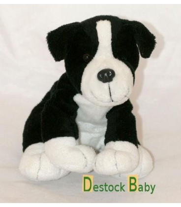 Peluche doudou chien noir et blanc BAMBIA 20 cm