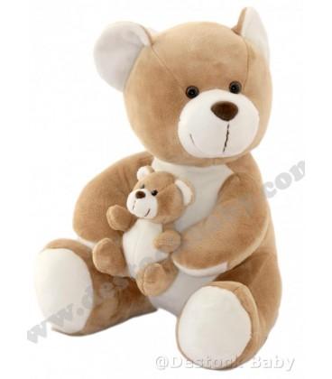 Peluche OURS marron et blanc BaMBIa Liddl et son bébé doudou 32 cm