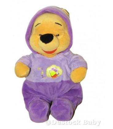 Doudou peluche WINNIE L'OURSON - Pyjama violet Mauve - 28 cm