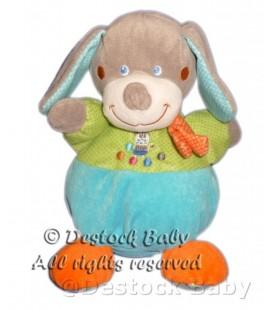 Doudou peluche lapin chien boule bleu vert orange Mots d'Enfants 21 cm