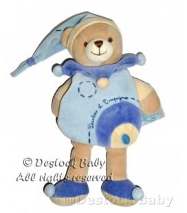 DOUDOU ET COMPAGNIE OURS bleu Bonnet Cape H 23 cm