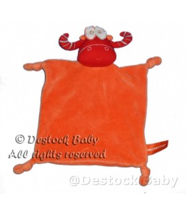 Doudou Taureau Vache orange rouge ORCHESTRA 4 noeuds
