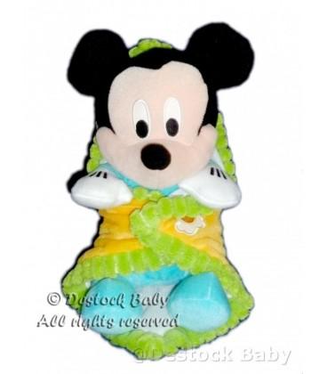 Doudou peluche MICKEY bleu Couverture jaune orange vert H 30 cm Disney Nicotoy