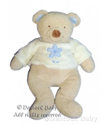 Doudou peluche OURS Beige Kiabi idem NICOTOY The Baby Collection Pull Fleur bleue 36 cm
