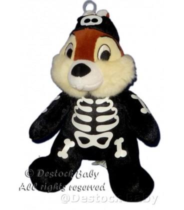Doudou peluche TIC de Tic et Tac déguisé squelette Halloween H 20 cm