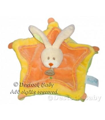 Doudou plat LaPIN jaune orange BaBY NaT' Babynat Dessous vert